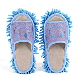 1Pair Washable Mop Slippers Microfiber Floor Cleaning Mop Slippers Non Slip House Dusting Slippers Happy Face Style More Thick(Blue)