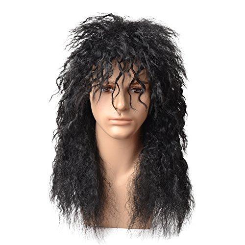 (BERON 80s Mens Wig Fashiom Smart Punk Metal Rocker Disco Mullet Party Wig Long)