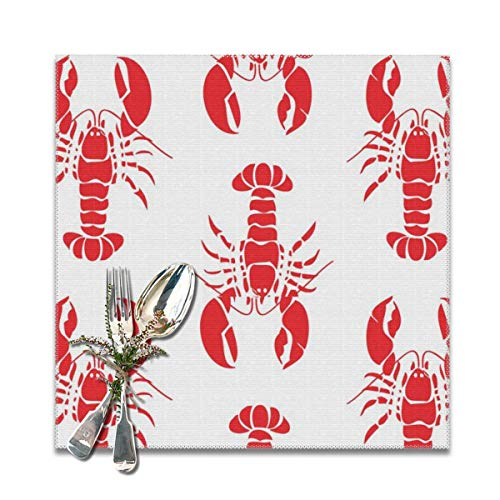 BUN Placemats Square Set of 6 for Dining Room Kitchen Table Decor, Red Lobster Print Table Mats Washable]()