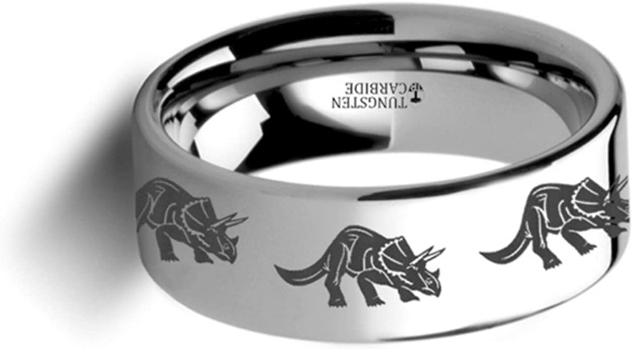 Thorsten Dinosaur Ring Triceratops Prehistoric Paleo Flat Polished Tungsten Ring 12mm Wide Wedding Band from Roy Rose Jewelry