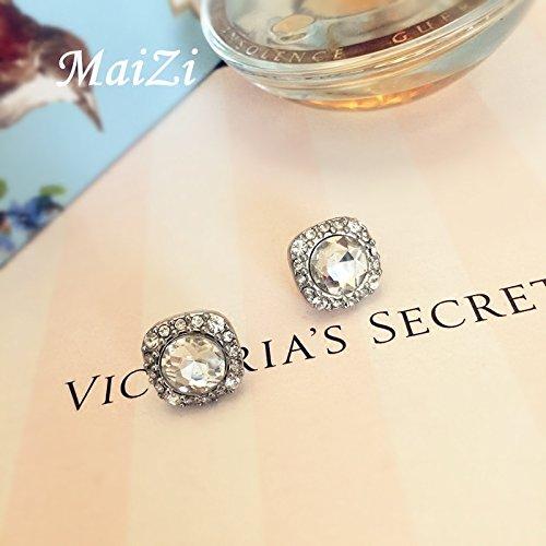 - usongs fashion gem diamond white square buttons classic quality and ladies elegant earrings earrings