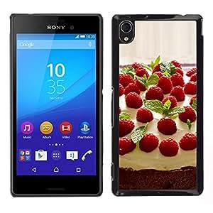 LECELL--Funda protectora / Cubierta / Piel For Sony Xperia M4 Aqua -- Torta de la fruta de la frambuesa Macro --