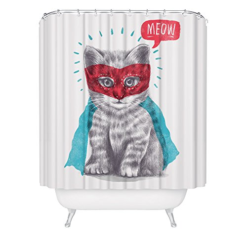 Superhero Kitty (Cat Lover Shower Curtain Cute Funny Super Hero Kitten Feline Animal Meow White Fabric Bathroom Décor)