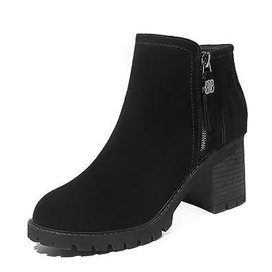 8379b56290800 Femme Hiver Bottes Chelsea Chaud Talon Epais Boots Chaussure avec Talon Bloc  7 CM Taille 35