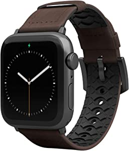 Groove Life - Vulcan Watch Band Compatible with Apple Watch 38mm 40mm 42mm 44mm, Breathable Leather and Silicone Bands Series 5 4 3 2 1 - Ascent Narrow Long Space Grey