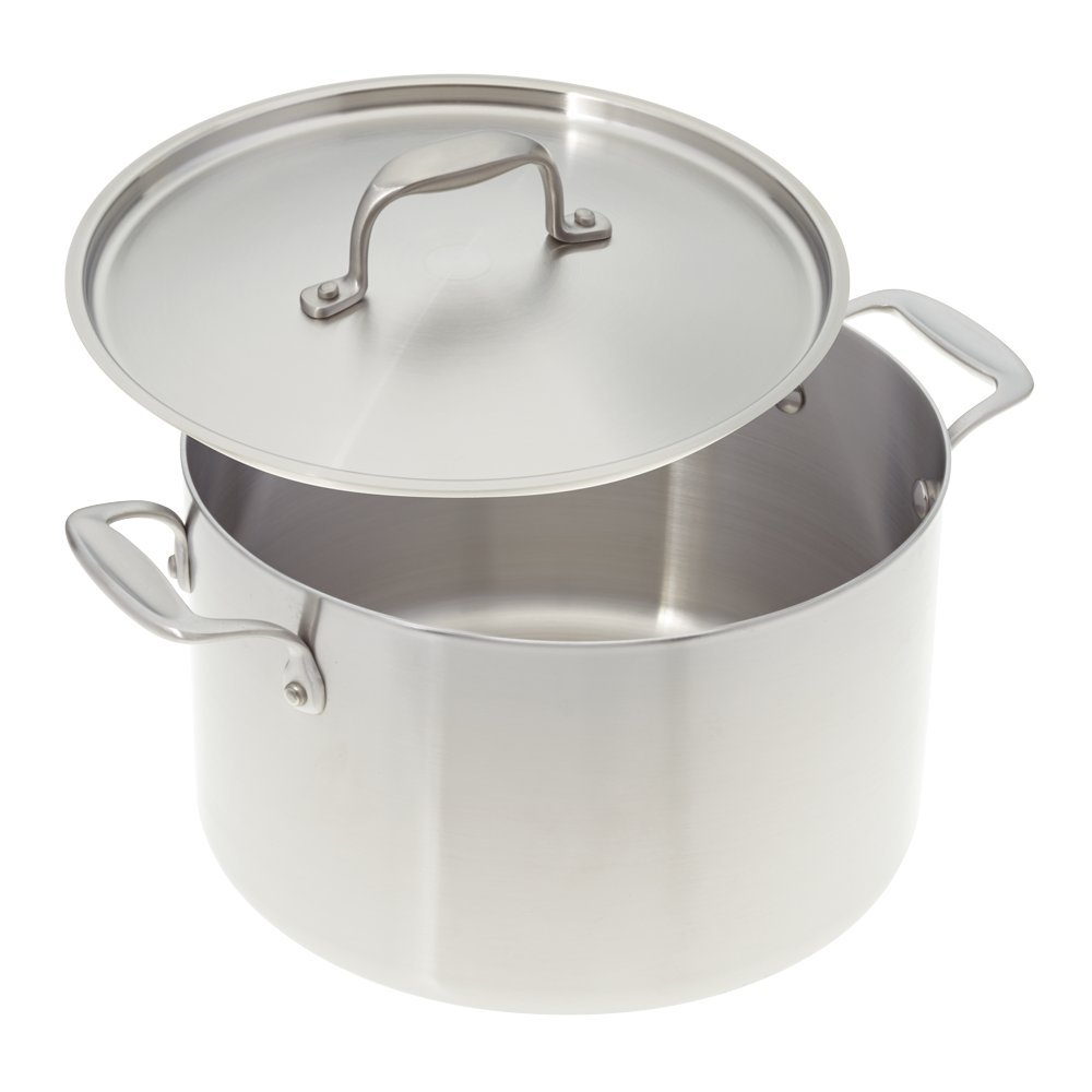American Kitchen Cookware 8-quart Stainless Steel Stock Pot with Fitted Cover; Tri-Ply Stainless Steel; Manufactured in USA