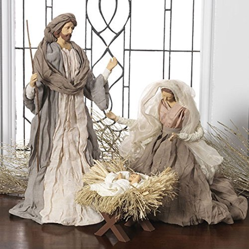 Large Holy Family Christmas Nativity Set, 3 Pieces, 17.5 Inch Tall, Fabric & Resin by Raz (Image #1)