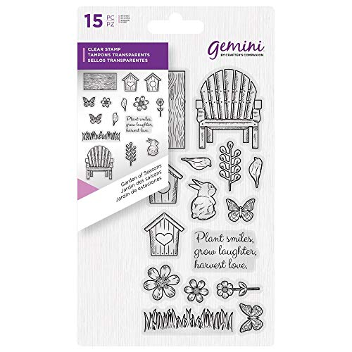 Crafter's Companion Gemini Clear Stamp Set - Garden of Seasons (15pc) (Clear Stamp Set Garden)