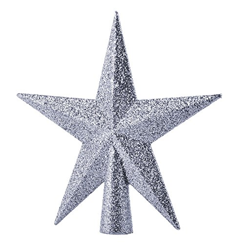 XY Fancy Home Decor Christmas Ornament Five-pointed Star Christmas Tree Topper 15cm 1PCS Silver