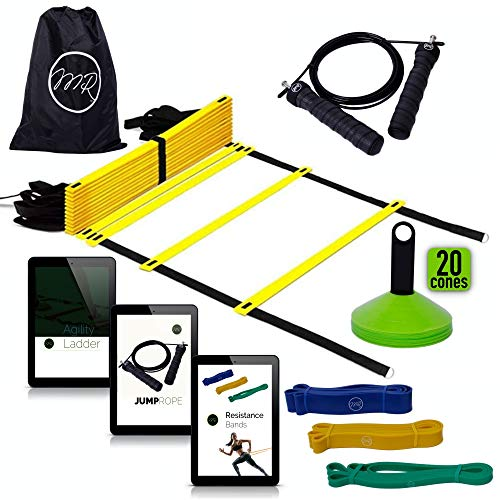 (MRProdux Speed and Agility Training Equipment Set with Complete eBook Training Guides | Agility Ladder, Resistance Bands, Disc Cones, Jump Rope, and 3 eBooks | Football, Soccer, Athletic Training Kit)