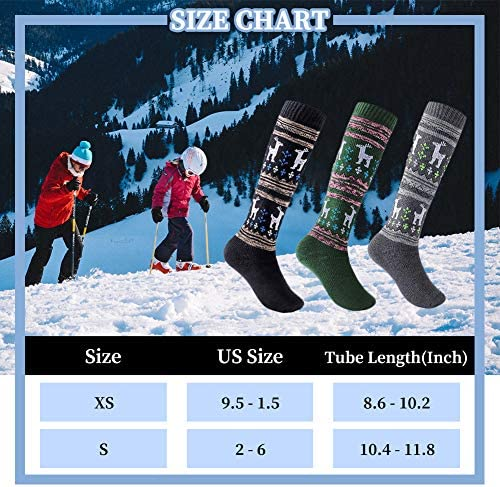 "Childrens 3 x  BLACK Ski TUBE Socks SKIING SNOWBOARDING 18/""  EU31-36 UK 12.5 3.5"