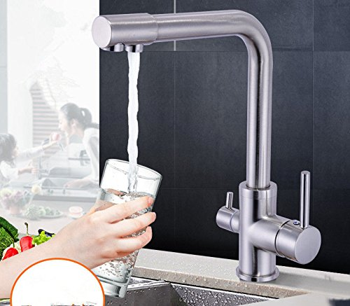 Gyps Faucet Basin Mixer Tap Waterfall Faucet Antique Bathroom The copper kitchen pure water for direct drinking water faucet hot and cold with three round-Brushed Bathroom Tub Lever Faucet