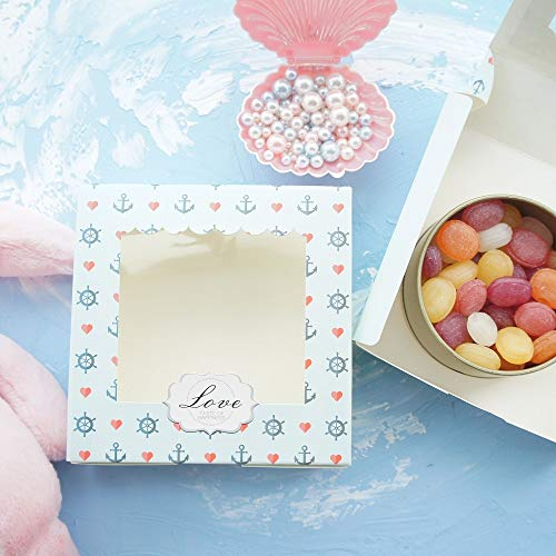 14.3x14.3x4.7cm 10Pcs Adventure on Sea Design Paper Box with Window for Candy Cookie Chocolate Gift Packaging Wedding Use