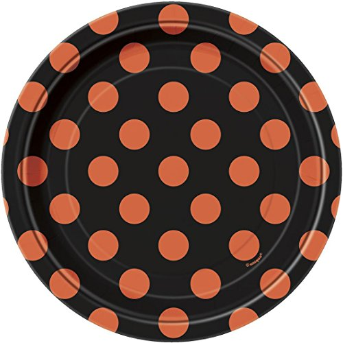 Orange & Black Polka Dot Halloween Paper Dessert Plates, 8ct -