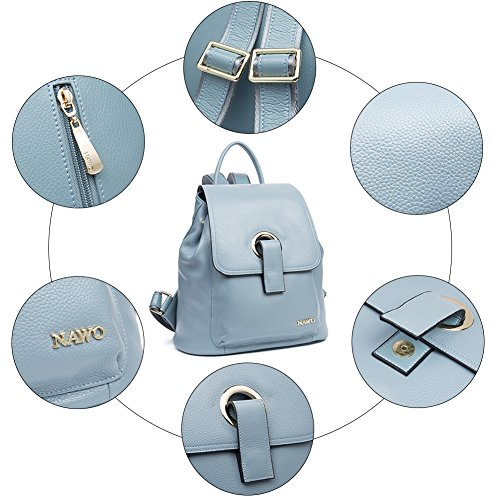 Daypack blue for Handbags amp; 3 Girls NAWO Ladies Casual Vintage Genuine Mini Women's Blue Leather Backpack gPxxqwF0ZA