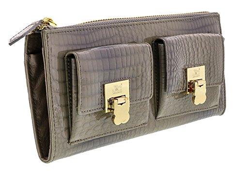 Jacky&Celine J11-012 GRIGIO Grey Zippered Large Wallet - Celine Wallet