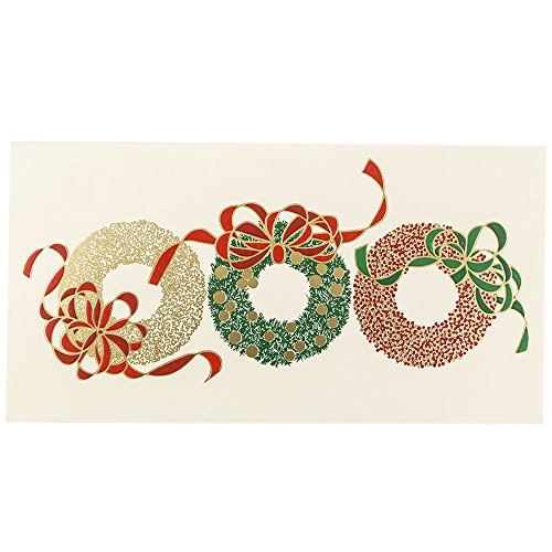 JAM Paper Christmas Card Set - Three Wreaths Holiday Cards - 25/pack