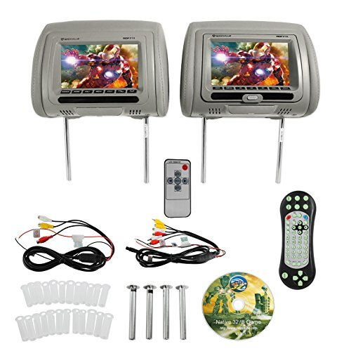 "Gray Headrest (Rockville RDP711-GR 7"" Grey Car Headrest Monitors w/DVD Player/USB/HDMI+Games+SD)"