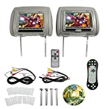 Rockville RDP711-GR 7-Inch Grey Car Headrest Monitors with DVD Player/USB/HDMI Plus Games