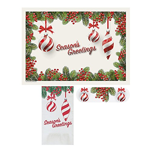 Hoffmaster 856795  Holiday Ornaments  - Placemat and Napkin Combo Pack with Napkin Band, Disposable, (Each case has 250 Placemats, and 250 Napkins) (Pack of 750)