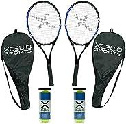 "Xcello Sports 23"" Tennis Racket Set - 2 Rackets. 2 Tubes of Balls, 2 C"