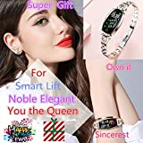 Sincerest Female Smart Bracelet Elegant Calories Distance Sleeping Fitness Tracker Blood Pressure Heart Rate Health Wristand Waterproof Bluetooth Watch Fit for iPhone Android Phone -Rose Gold