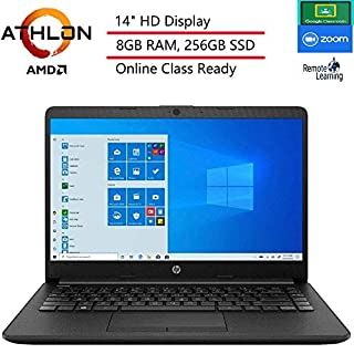 "(Renewed) HP 14 14"" Laptop Computer, AMD Athlon 3050U Up to 3.2GHz (Beat i3-7130U), 8GB DDR4 RAM, 256GB SSD, HDMI, Black, Windows 10 Home S, Online Class Ready, Webcam, Microphone, SPMOR Mouse Pad"