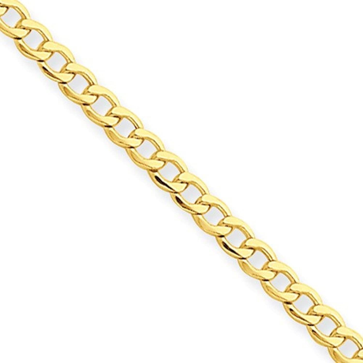 14K Gold 2.50MM Light-Weight Curb Link Anklet Bracelet