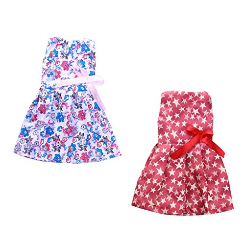 MagiDeal 2x Handmade Princess Sleeveless Floral Printed Frock Skirt and Five-pointed Star Printed Frock Skirt Dress Doll Clothes for 14'' American Girl Wellie Wishers Dolls Accessories
