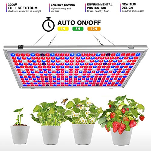 Bozily LED Grow Light, 300W Full Spectrum with Timer 12/15/18H Foldable Sunlike Plant Growing Light, Grow Lights for Indoor Plants Veg and Flower Seedlings, Growing, Blooming, Fruiting (338 LEDs) (Best Led Grow Light On The Market 2019)