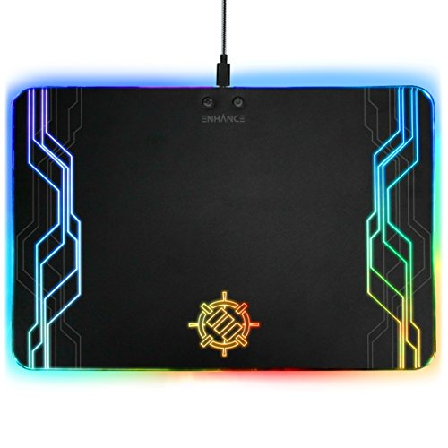 ENHANCE LED Gaming Mouse Pad Hard Large Surface - 7 RGB Light up Modes, Lighting Brightness Controls with Transparent Decals & Edges - Ambient Desktop Lighting & Accurate Tracking by ENHANCE