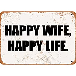 Wall-Color 7 x 10 Metal Sign - Happy Wife Happy Life - Vintage Look