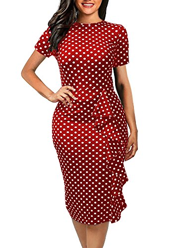 oxiuly Women's Short Sleeve Classic Polka Dot Ccoop Neck Work Business Sheath...