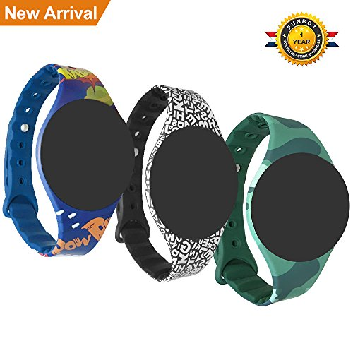 Lifestyle Gadget Funbot Fitness Tracker Replacement Bands for Watches TLW08,Wristbands Accessories for Women Men Kids,3 Pack(Cartoon Blue,Scrawl Black,Camouflage Green) (Three ()