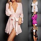 Jushye Clearance Women Sexy Lingerie Set, Lace Babydoll Sleepwear Underwear Coat Nightwear +G-String (Black, S)