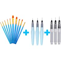 AOOK 10 Piece Set of Paint Brush Set Professional Paint Brush Watercolor Oil Artist Acrylic Painting (1 Piece + 3 Pieces…
