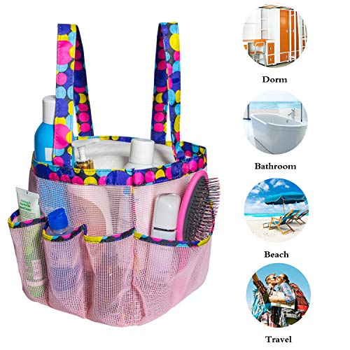 Attmu Portable Mesh Shower Caddy with 8 Storage Pockets, Quick Dry Waterproof Shower Tote Bag Oxford Hanging Toiletry and Bath Organizer for Shampoo, Pink Spot