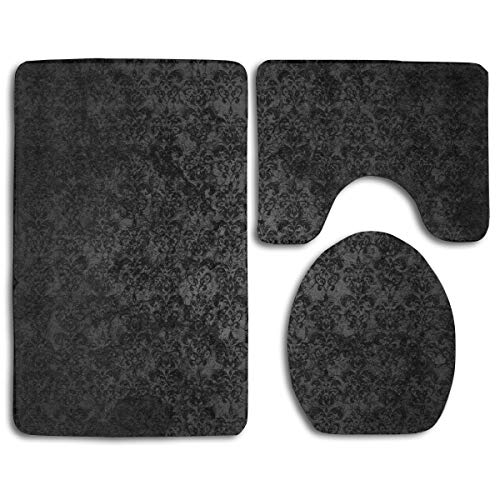 Bathroom Rug Mat Set 3 PC - Memory Foam Toilet Carpet Rugs - Absorbent U-Shaped Bath Mats and Lid Cover - Non-Slip Machine-Washable Toilet Black Elegant Ornaments Texture Rug Mat (Rug Texture Black)