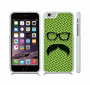 iStar Cases? iPhone 6 Plus Case with Handlebar Mustache with Retro Glasses on Lime Background w/mustaches , Snap-on Cover, Hard Carrying Case (White)