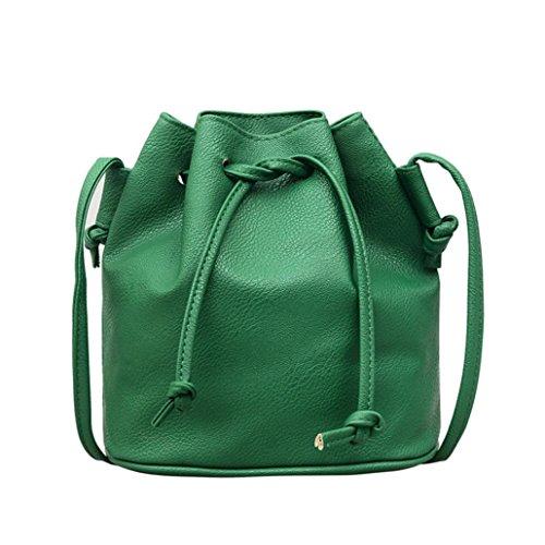 Bag Fashion Bucket Bag Green Leather Messenger Bag Drawstring Women Color Satchel Pure Shoulder Purse qBqTr5xdw