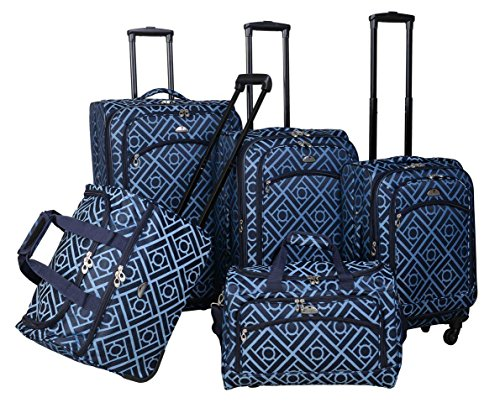 American Flyer Astor Collection 5 Piece Spinner Luggage Set (Black Blue)