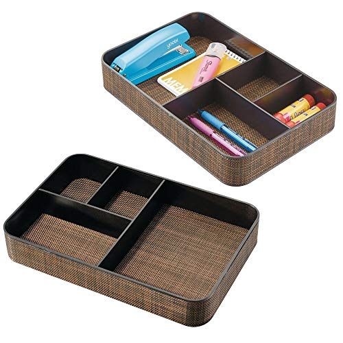 mDesign Plastic Divided Drawer Organizer Tray for Home Office, Desk Drawer, Shelf, Closet - Holds Highlighters, Pens, Scissors, Adhesive Tape, Paper Clips, Note Pads - 4 Sections, 2 Pack - Bronze