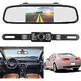 ZSMJ Backup Camera and Monitor Kit,4.3 Car Vehicle Rearview Mirror Monitor for DVD/VCR/Car Reverse Camera + CMOS Rear-view License Plate Car Rear Backup Parking Camera With 7 LED Night Vision