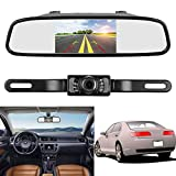 ZSMJ Backup Camera and Monitor Kit,4.3″ Car Vehicle Rearview Mirror Monitor for DVD/VCR/Car Reverse Camera + CMOS Rear-view License Plate Car Rear Backup Parking Camera With 7 LED Night Vision For Sale