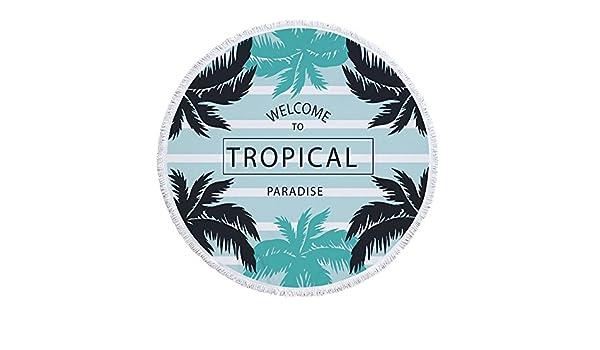 BESTSOON Toallas de Playa de Microfibra para Viajar Toalla de Playa Redonda Toalla de Picnic de Yoga Toalla de Playa Redonda Toalla de Picnic con Flecos de ...