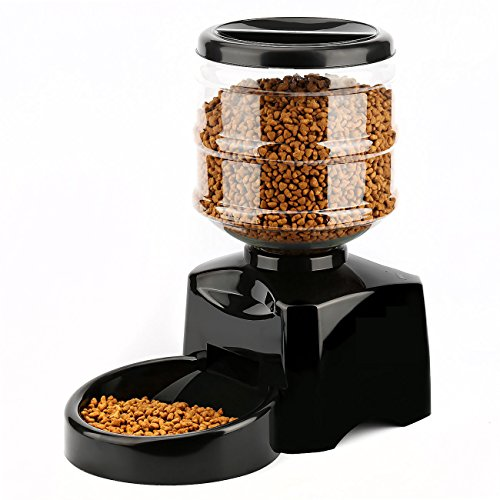 Automatic Pet Feeder, PETFLY Automatic Feeder Electric Pet Food Dispenser Dry Food Container with LCD Display for Pet Dogs Cats (Black)