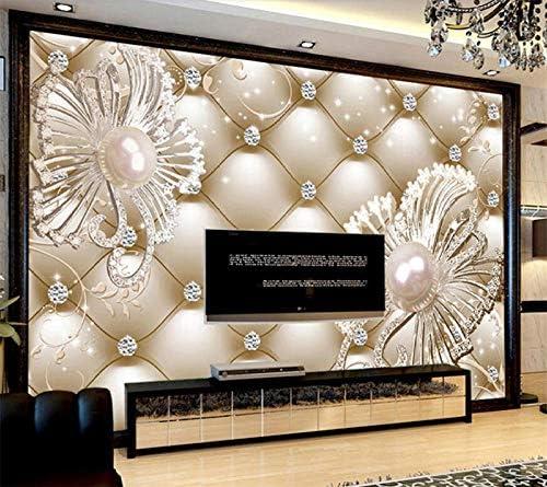 Ansyny カスタム壁紙壁画3Dパックダイヤモンドジュエリー花高級リビングルームベッドルーム背景壁紙-300X200CM