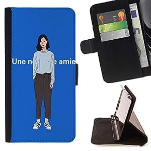 King Case - FOR Apple Iphone 4 / 4S - you can do it - Prima caja de la PU billetera de cuero con ranuras para tarjetas, efectivo Compartimiento desmontable y correa para la mu?eca