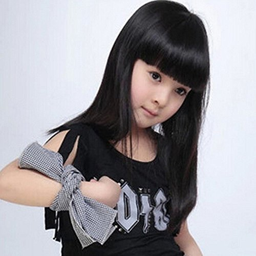 [Spritech(TM) Children's Lovely Stylish Black Fluffy Realistic Long Straight Hair Wig Fiber Synthetic Wig for 1-4 Years Old] (Old Wigs)