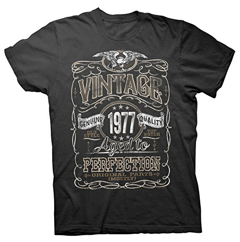 Vintage Aged To Perfection 1977-Distressed Print-40th Birthday Gift T-shirt-Black X-Large